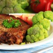 Stock Photo: Piece of fried meat on plate close-up