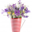 Beautiful bouquet of wildflowers in cup, isolated on white — Stock Photo #28102499