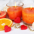 Romantic lighted candles close up — Stock Photo #28102623