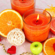 Romantic lighted candles close up — Stock Photo #28102645