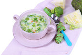 Cabbage soup in plate on napkin isolated on white — Stock Photo
