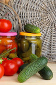 Fresh vegetables and canned on table close up — Stock Photo