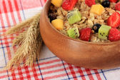 Oatmeal with fruits close-up — Stock Photo