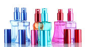 Perfume in bottles isolated on white — Stock Photo
