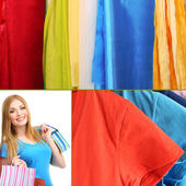 Beautiful girl with shopping and clothes collage — Stock Photo