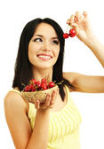 Girl with fresh cherries isolated on white — Stock Photo