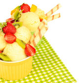 Delicious ice cream with fruits and berries in bowl isolated on white — Stock Photo