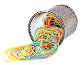 Kleurrijke elastiekjes geïsoleerd op wit — Stockfoto
