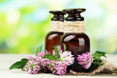 Medicine bottles with clover flowers on wooden table, outdoors — Stock Photo