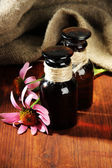 Medicine bottles with purple echinacea flowers on wooden table with burlap — Foto de Stock