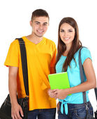 Two happy beautiful young people, isolated on white — Stock Photo