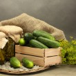 Fresh cucumbers in wooden box, pickles and dill, on grey background — Stock Photo #28290457