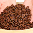 Coffee beans in hands close-up — Stock Photo #28290801