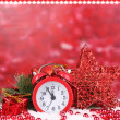 Stock Photo: Christmas decoration on red background