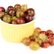 Stock Photo: Fresh gooseberries in bowl isolated on white