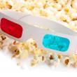 pipoca e óculos 3d, isolados no branco — Foto Stock