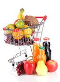 Różne owoce w wózek z soku na białym tle — Zdjęcie stockowe