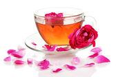 Rose tea isolated on white — Stock Photo