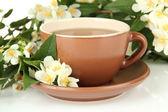 喝杯茶与茉莉花,白色上孤立 — 图库照片