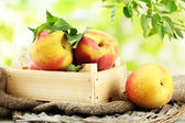 Ripe sweet peaches in wooden crate, outside — Stock Photo