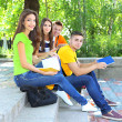 Happy group of young students sitting in park — Foto Stock