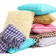 Hill colorful pillows and plaids isolated on white — Stock Photo #28302019