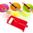 Set for painting: paint pots, brushes, paint-roller isolated on white — Stock Photo #28302595