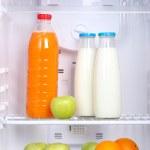Open refrigerator with vegetarian (diet) food — Stock Photo