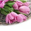 Stock Photo: Beautiful bouquet of purple tulips, isolated on white