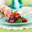 Tasty jelly dessert with fresh berries, on bright background — Stock Photo #28307253