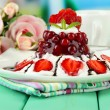 Tasty jelly dessert with fresh berries, on bright background — Stock Photo #28307325