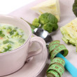 Cabbage soup in plate on napkin close-up — Foto Stock