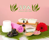 Cosmetic clay for spa treatments on colorful background — Stock Photo