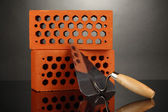 Metal tool for building and bricks isolated on black — Stock Photo