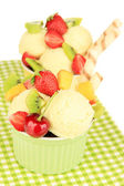 Delicious ice cream with fruits and berries in bowl close up — Stockfoto