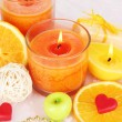 Romantic lighted candles close up — Stock Photo #28312495