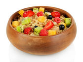 Oatmeal with fruits isolated on white — Stock Photo