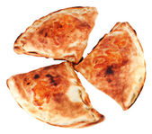 Pizza calzones isolated on white — Stock Photo