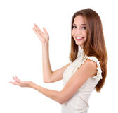 白で隔離される若いビジネス女性 — ストック写真