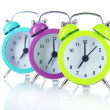 Colorful alarm clock isolated on white — Stock Photo #28370815