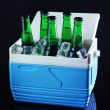 Stock Photo: Bottles of beer with ice cubes in mini refrigerator, on black background