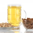 Beer in glass,crouton — Stock Photo