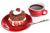 Chocolate cake with strawberry isolated on white — Stock Photo