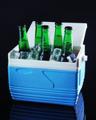 Bottles of beer with ice cubes in mini refrigerator, on black background — Stock Photo
