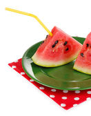 Sweet watermelon slices on green plate isolated on white — Stock Photo
