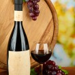 Composition of wine, wooden barrel and  grape, on bright background — Stock Photo