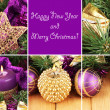 Christmas composition  with candles and decorations in purple and gold colors on wooden background — Stock Photo
