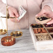 Sale of tea and different spices — Stock Photo