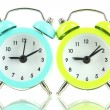 Retro alarm clocks, isolated on white — Stock Photo
