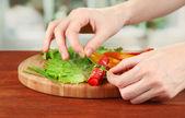 Vorbereitung salami brötchen auf hellem hintergrund — Stockfoto